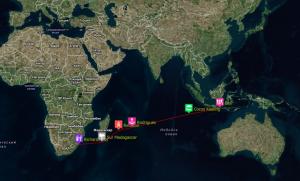 Ruta realizada por el SIKKIM en el Oceano Indico